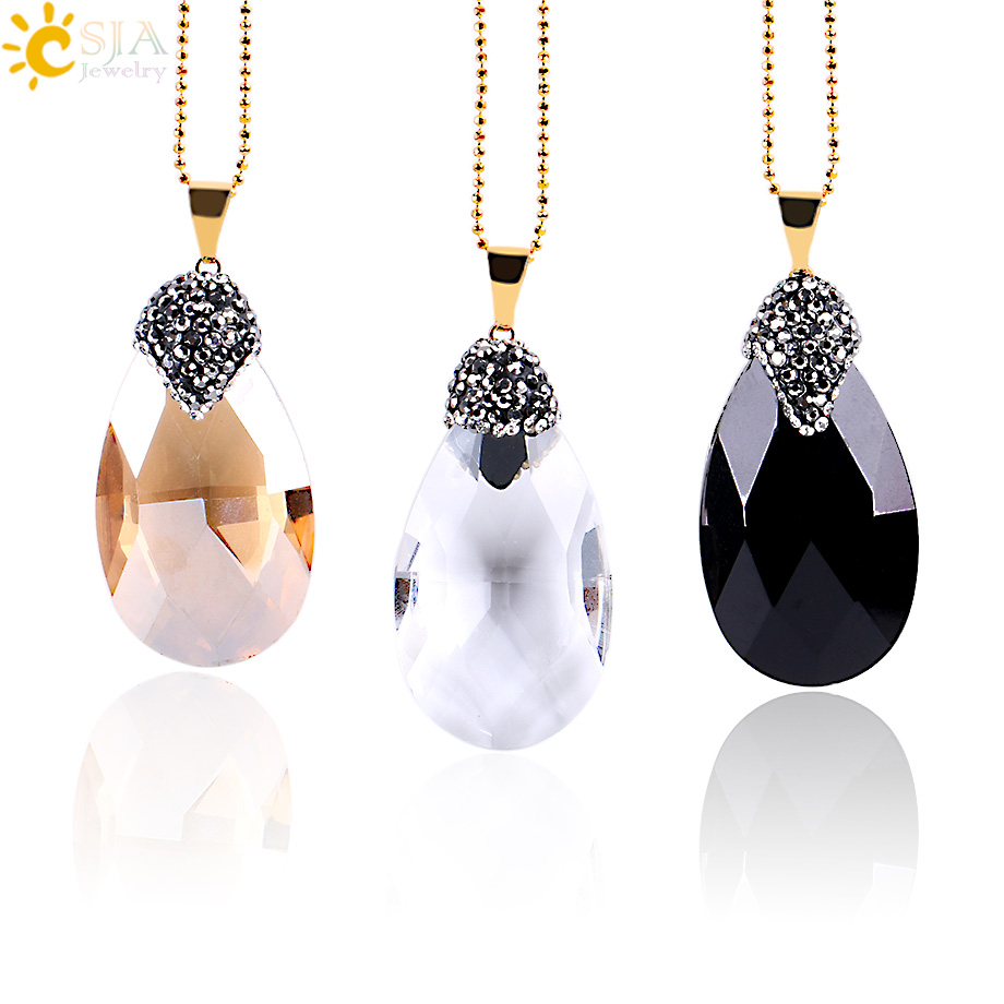 CSJA White Champagne Black Faceted Glass Crystal Water Drop Pendants Friendship Men Neckla