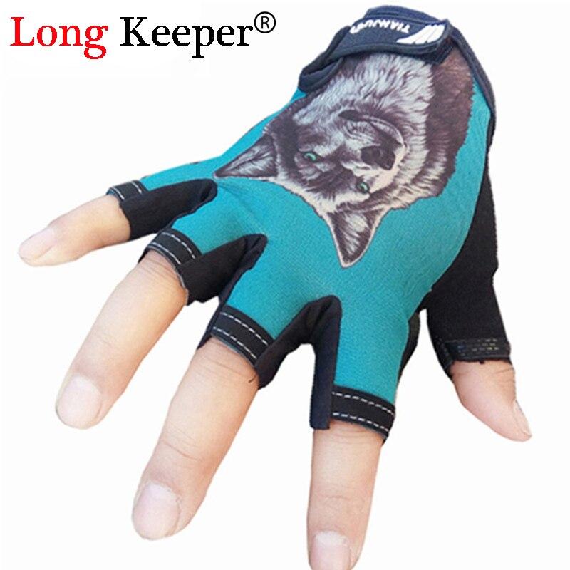 New Fingerless Sport Gloves Half-finger Mittens For Men Women Animal Wolf Pattern Gym Workout Guantes Eldiven G-75