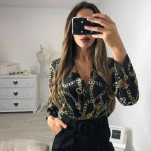 2019 Womens Long Sleeve Deep V Neck Tops Jumpsuit Chain Print Bodysuit Backless Blouse Romp