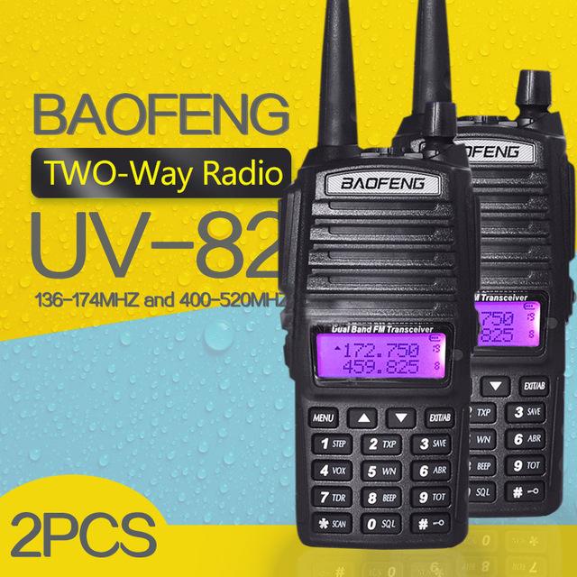 (2 unids) baofeng uv-82 de doble banda 136-174/400-520 mhz fm jamón de dos vías de radio, transceptor baofeng 82 walkie talkie