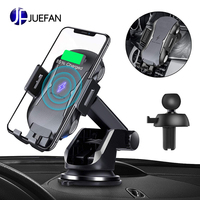 JUEFAN Automatic Clamping Qi Wireless Car Charger 10W/7.5W Fast Charger Car Mount Phone Holder for Air Vent Dashboard Compatible