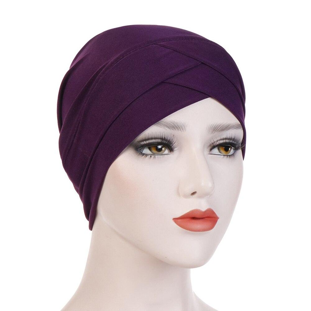 Женский хлопковый хиджаб, шарф, тюрбан, шапка, мусульманский головной платок, солнцезащитная Кепка, мусульманский Многофункциональный тюрбан, фуляр, femme musulman - Цвет: dark purple