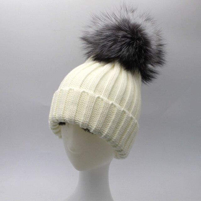 Fashion Winter Women Real Silver Fox Fur Ball Hats Winter Warm Thick Knitted Beanies Pom Pom Hat Used below zero