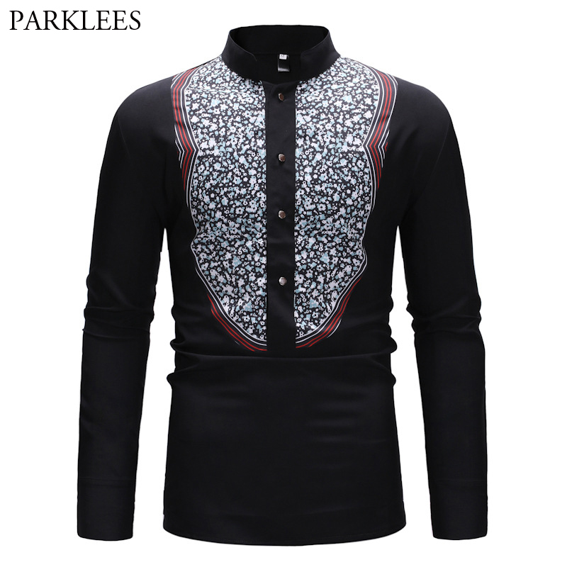 Men Long Sleeve Ink Print Loose Casual Oversize Shirts Male Women Streetwear Hip Hop Punk Gothic