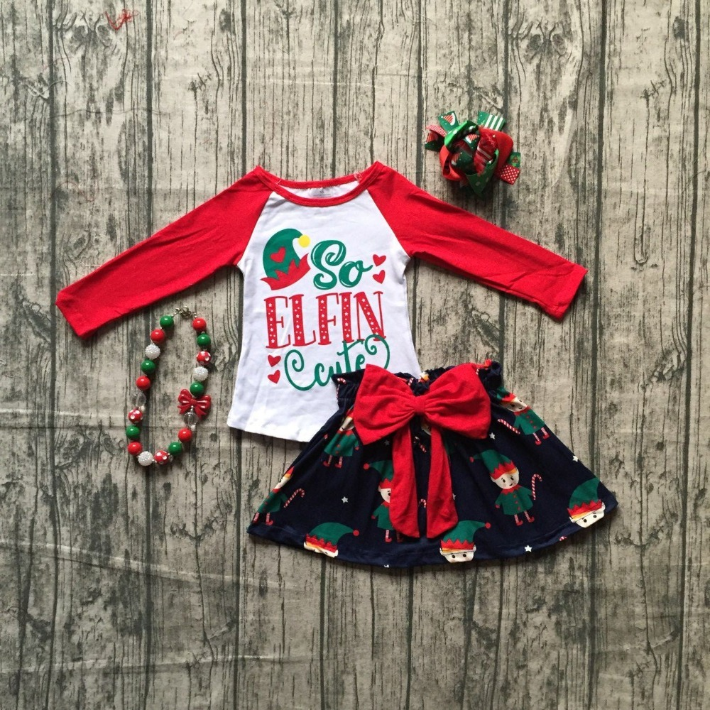 girls winter OUTFITS children girls Christmas top with skirts sets clothing so cute red long top outfits with accessories