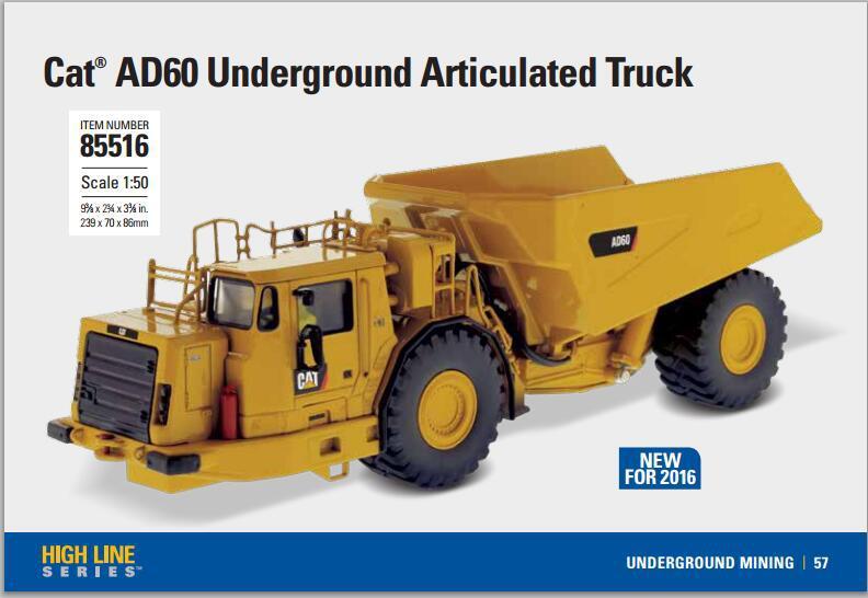 Caterpillar 1:50 Scale Diecast AD60 Articulated Underground Truck LED 85516 CAT