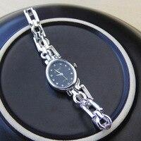 Модные S925 стерлингового серебра простой и элегантный женский Ретро тайский серебряный декоративные часы Съемная раздел браслет