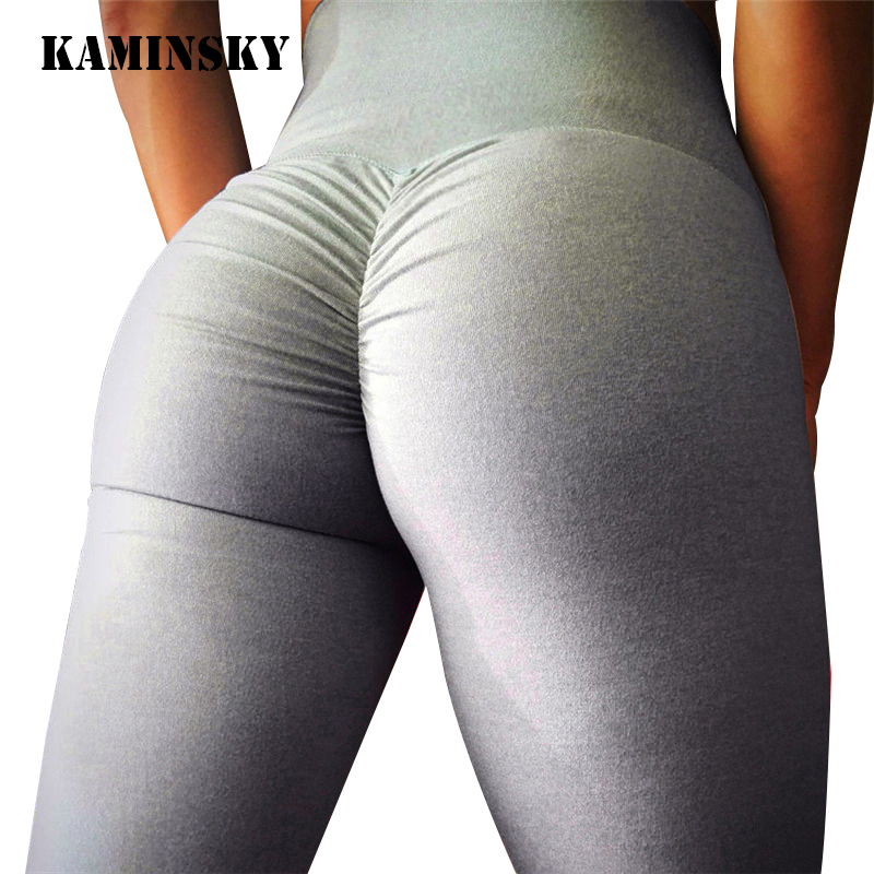 Kaminsky Sexy Push Up Women   Leggings   High Waist Workout Casual Pants Mujer Fashion Wrinkle Sportswear Fitness   Leggings   8 Color
