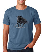 Horse Black Mens T Shirt Riding S M L XL 2XL Indigo Blue
