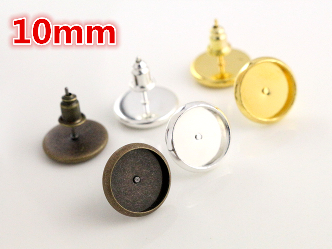 50pcs 10mm Brass Bronze Bright Silver Gold Ear Studs Earring Base Earring Findings Cabochon Setting Accessories (With Back) beard portrait pattern ancient palace bronze ear studs white black pair