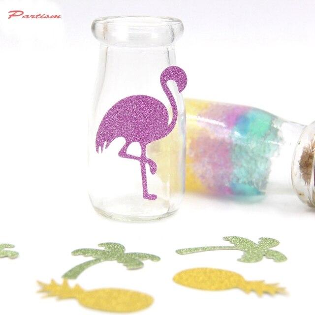 30 piezas Flamingo fiesta Glitter pegatinas de papel de Flamingo y piña y árbol confeti de cumpleaños/despedida de soltera/Decoraciones de fiesta de boda