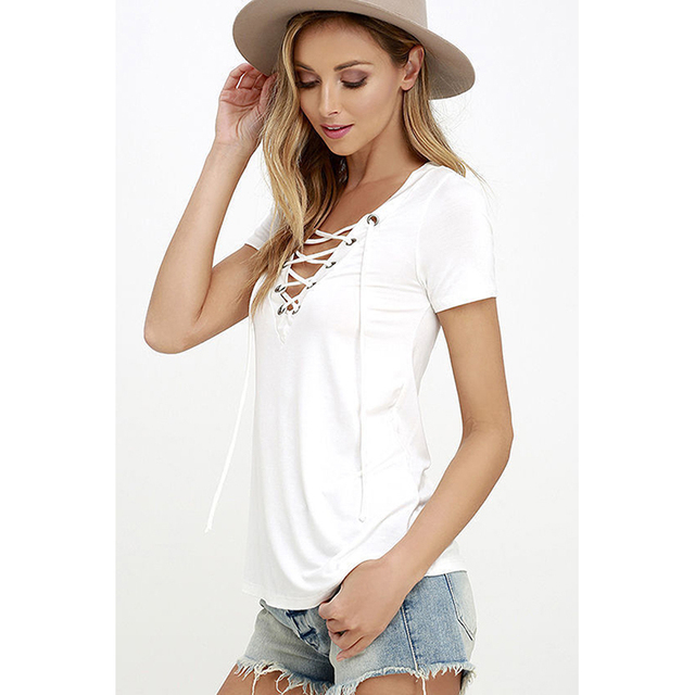 2017 Summer European Fashion Lace Up T Shirt