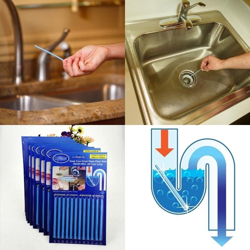 12Pcs/set Sani Sticks sewage decontamination to deodorant The kitchen toilet bathtub drain cleaner sewer cleaning rod 8z