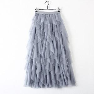 Image 5 - TIGENA Fashion Tutu Tulle Skirt Women Long Maxi Skirt 2020 Korean Cute Pink High Waist Pleated Skirt Female School Sun spodnica