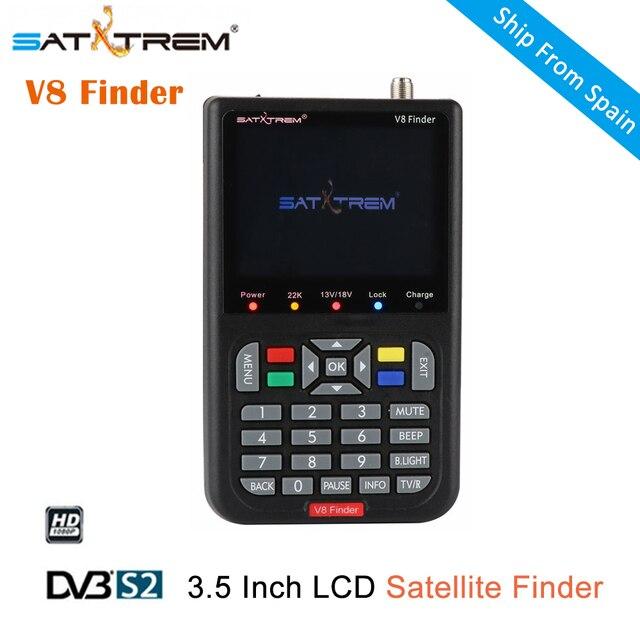 SATXTREM DVB-S/S2 V8 Finder HD Satellite Finder with High Definition 3.5 Inch LCD Display MPEG-4 Satellite Meter Satfinder