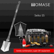 8pc outdoor camping magic shape steel shovel multi-function folding shovel tool survival shovel Flashlight shovel knife