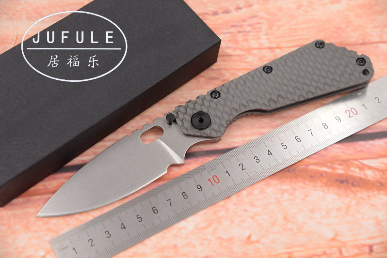 JUFULE Strider SMF TC4 Titanium handle D2 blade Copper washer Folding hunt camping outdoor Tactical multi EDC Tool kitchen knife jufule doc folding d2 blade titanium g10 bearing flipper tactical kitchen knife outdoor survival camping pocket hunt edc tool