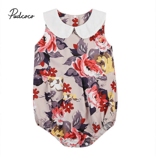 0734d29edf79 Pudcoco New Adorable Newborn Baby Girl Clothes Flower Peter Pan Collar  Bodysuit Jumpsuit Playsuit Outfit Summer Cotton One-Piece