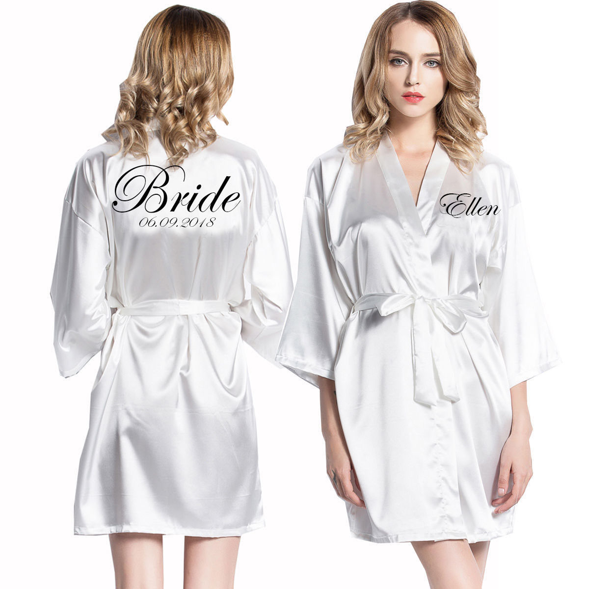 Wedding Dressing Gowns Personalised: Personalized Robes Satin Silk Printed Gown Wedding Bride