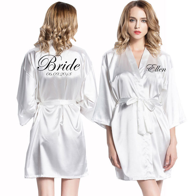 Us 15 12 11 Off Personalized Robes Satin Silk Printed Gown Wedding Bride Bridesmaid Robe Pr001 In Robes From Underwear Sleepwears On