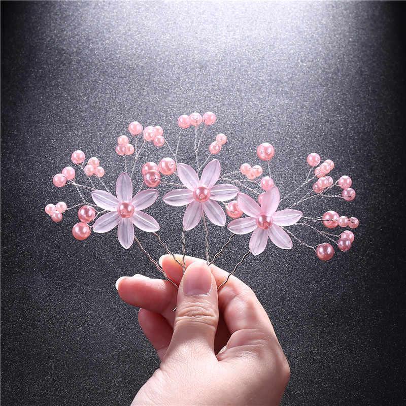 3Pcs/Set Women Flowers Festival Girl Hair Clips Pearl Flowers Crystal Rhinestone U Shaped Hairpins Barrettes Hair Styling Tools