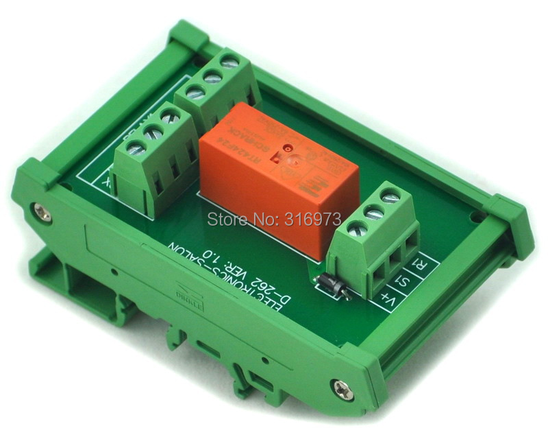 DIN Rail Mount Passive Bistable/Latching DPDT 8A Power Relay Module, 24V Version