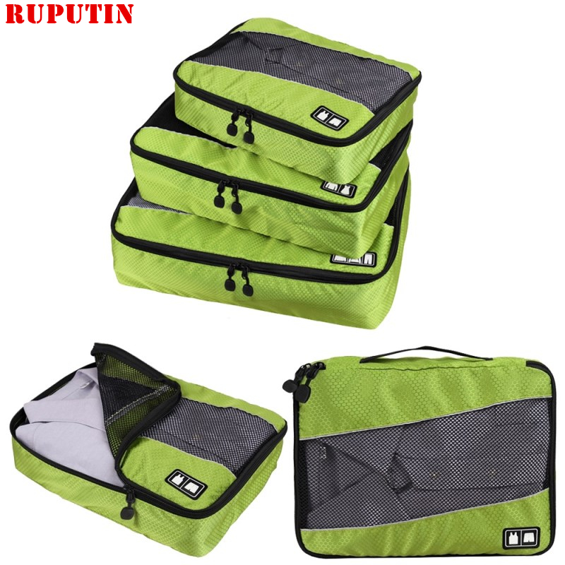 RUPUTIN 3Pcs/set Travel Luggage Organizer Packing Cubes Set Breathable Mesh Storage Clothes Bag Waterproof Travel Accessories