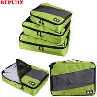 RUPUTIN 3Pcs/set Travel Luggage Organizer Packing Cubes Set Breathable Mesh Storage Clothes Bag Waterproof Travel Accessories