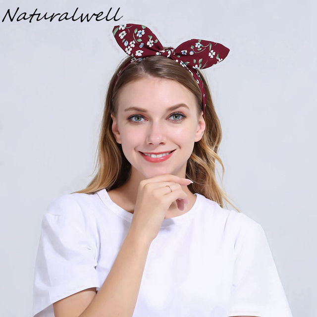 Naturalwell Red Bendable Twist top Knot Headband with Wire inside Women  Rockabilly Style Headbands Girls Flower Headwrap WH027 27e61268ecf