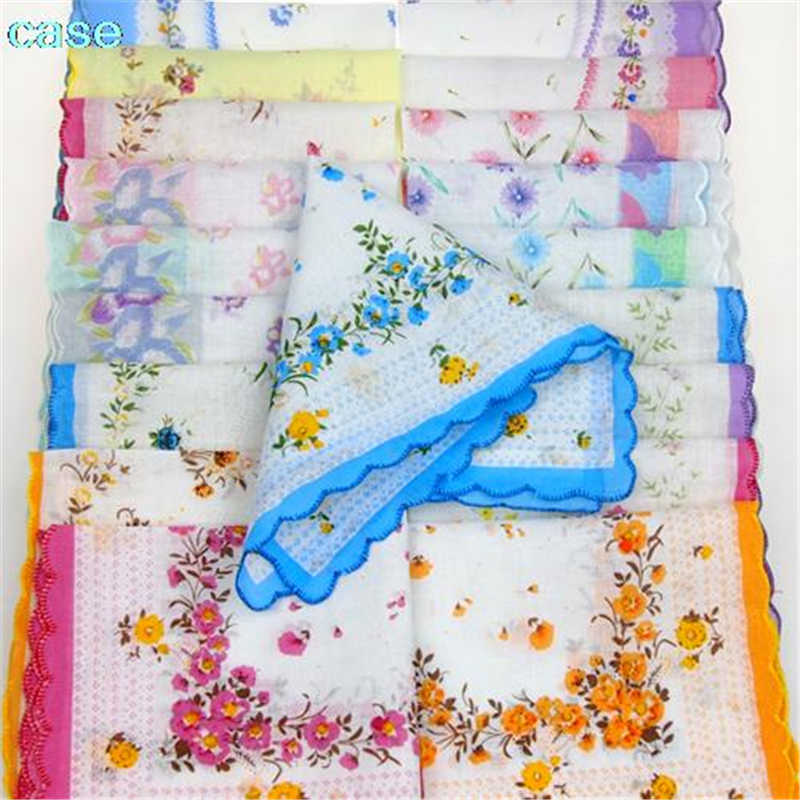 10 Pcs Vintage Cotton Women Hankies Embroidered Butterfly Lace Flower Hanky Floral Assorted Cloth Ladies Handkerchief Fabrics