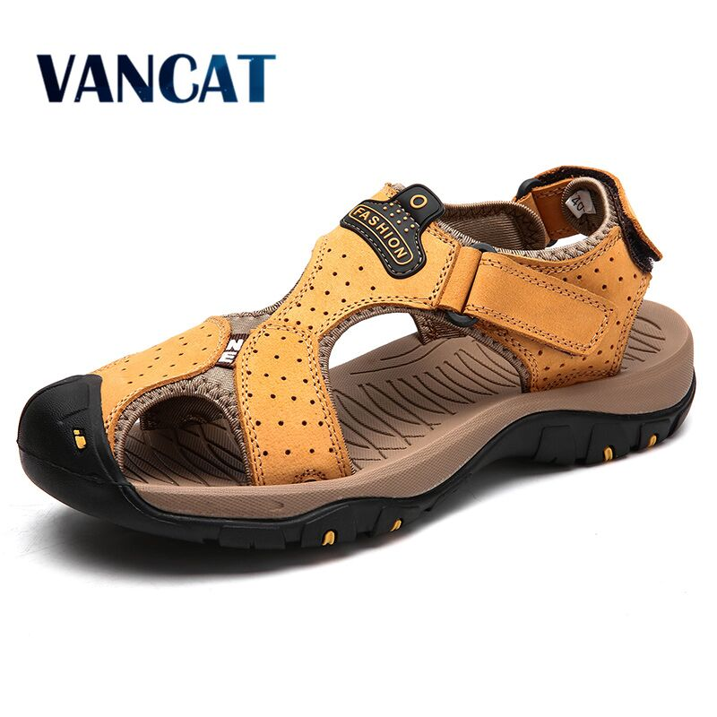 Brand Genuine Leather Men's Shoes Summer Men's Sandals Men Sandals Fashion Outdoor Beach Sandals And Slippers Big Size 38-47