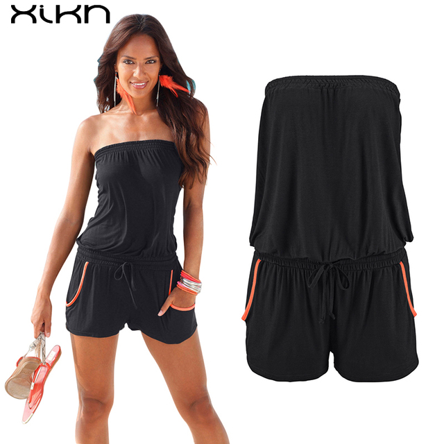 04d5c058c65 XIKN Women Rompers Causal Summer Jumpsuits Pockets Women Sexy Rompers Loose Plus  Size Jumpsuits Sashes Tube Top Playsuits AF114