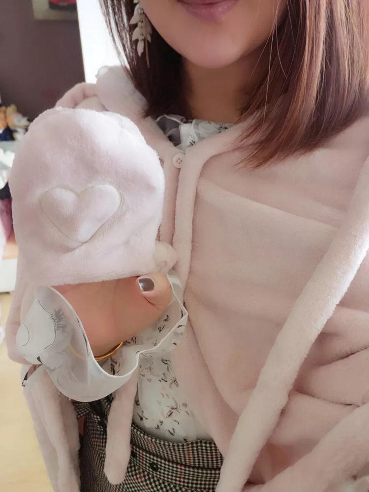 Cute Pink Comfy Blanket Sweatshirt Winter Warm Adults and Children Rabbit Ear Hooded Fleece Blanket Sleepwear Huge Bed Blankets 109
