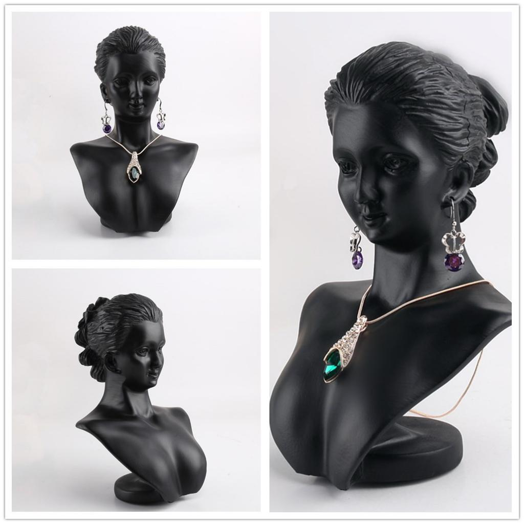 Boutique Counter Black Resin Lady Figure Mannequin Display Bust Stand Jewelry Rack For Necklace Pendant Earrings