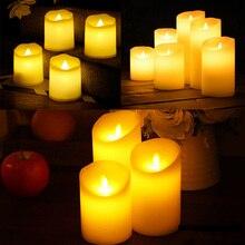 Светодиодный свечи без пламени, электронные свечи, ночные светильники, лампа на батарейках для свадьбы, дня рождения, вечеринки, рождественского декора