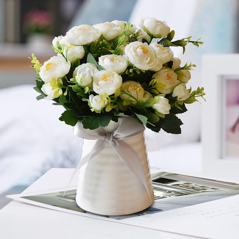 Livraison gratuite Bouquet de fleurs artificielles décoration de la maison événement de mariage et fête vivant thé Rose fleur accessoires en céramique Vase fleur