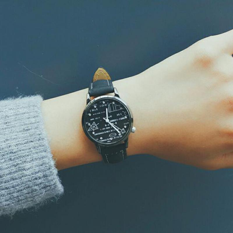 Vintage Classic Ulzzang Mathematical Leather Quartz Wrist Watches Wristwatches For Men Women Students Children
