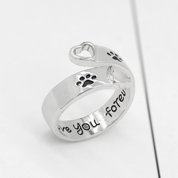 Fashion Pet Dog Paw Foot Print Cat Ear Ring Silver Fox Angel Wings Bee Rabbit Heart Wedding Rings For Women Animal Jewelry Anel 1