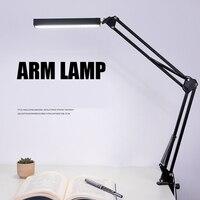 Novo braço longo lâmpada de mesa clipe escritório led lâmpada de mesa olho protegido longa vida livro lâmpada para o quarto led luz escurecimento brilho|Luminária de mesa| |  -