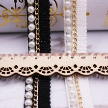 1Yards Pearl Beaded Lace Trim White/black Lace Ribbon Beaded Fringe Clothing Sewing Embroidered Lace Fabric Headdress Materials