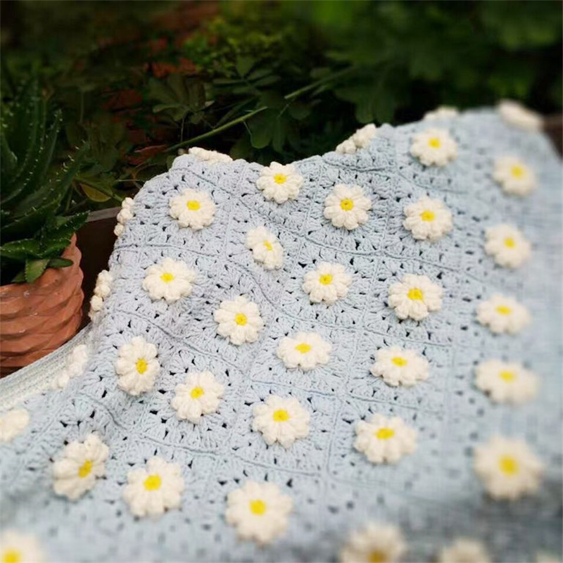US $69 35 45% OFF|DIY Crochet Baby Blanket Cushion Felt Colourful Stripe  Daisy Mats Handmade Tablecloth Fashion Carpet For Wedding Table Runner-in