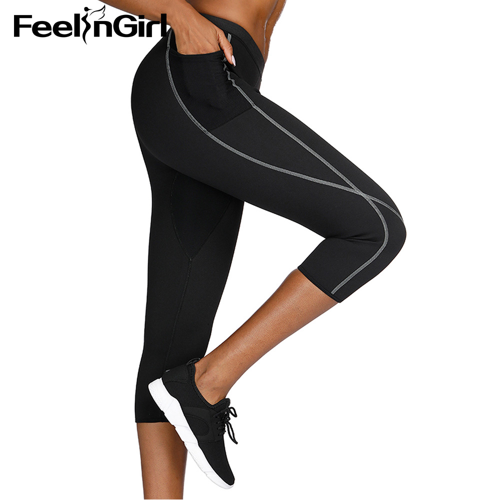 FeelinGirl Breathable Control Tummy Leggings Women Neoprene Body Shaper Sauna Sweat Workout Shapewear Pocket Pants Underwear-E