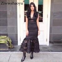 Ziwwshaoyu 100% лен комплект Sexy v образным вырезом короткий топ + Империя русалка юбка набор праздничный комплект весной и летом взлетно посадочной