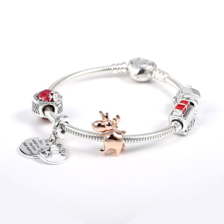 Nouveau 925 argent Sterling ensemble chaîne or Rose Elk Train parfait noël suspension charme pour Pan Glamour basique Bracelet bijoux à bricoler soi-même