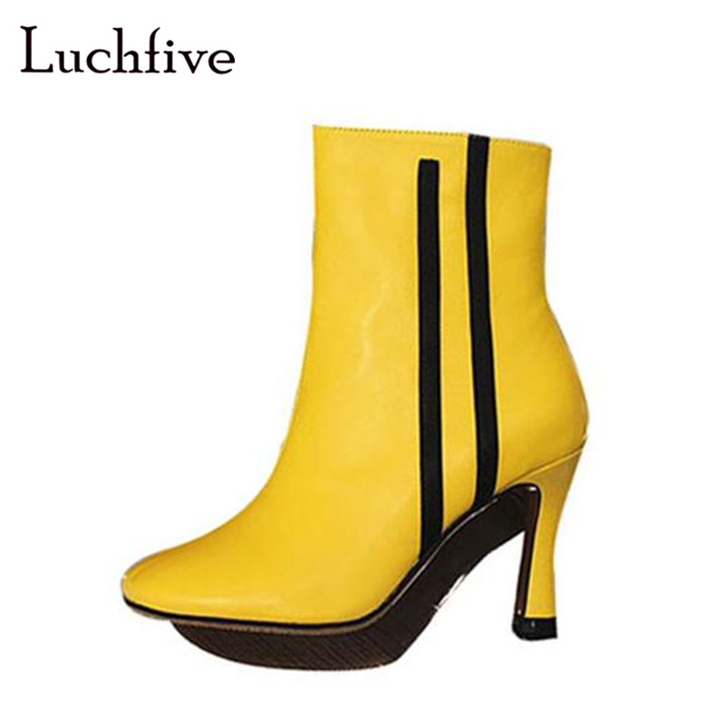 Genuine leather striped round toe ankle boots women thin high heels zipper female shoes black white yellow sexy short boots universe women winter ankle boots cow leather point toe zipper sexy thin heel black short boot matte boots female shoes g351