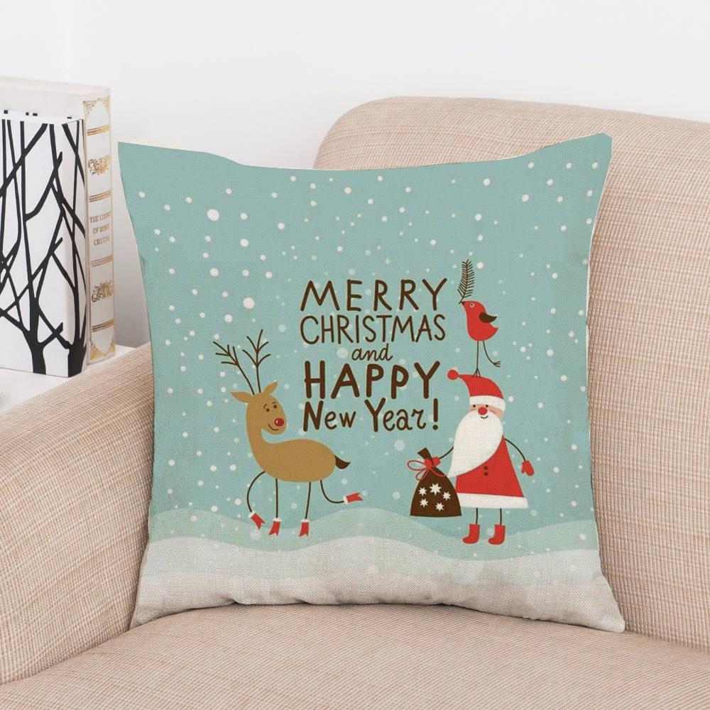 2017 Cushion Cover Christmas Pillow Xmas Square Throw Case Holiday Flax Home Sofa Car Decorative Gifts In From