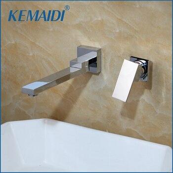 KEMAIDI Wall Mounted Basin Faucet Matte Black Bathroom Mixer Tap Hot Cold Sink Faucet Rotation Spout  Bathtub Shower Faucet 2pcs 1