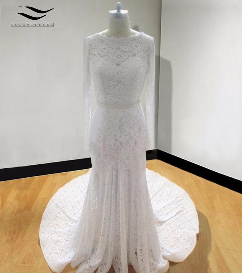 Backless Billiga Elegant Backless Mermaid Vintage Vit Långärmad Kant Bröllopsklänning 2018 Brudklänning Vestido De Noiva SL-W23