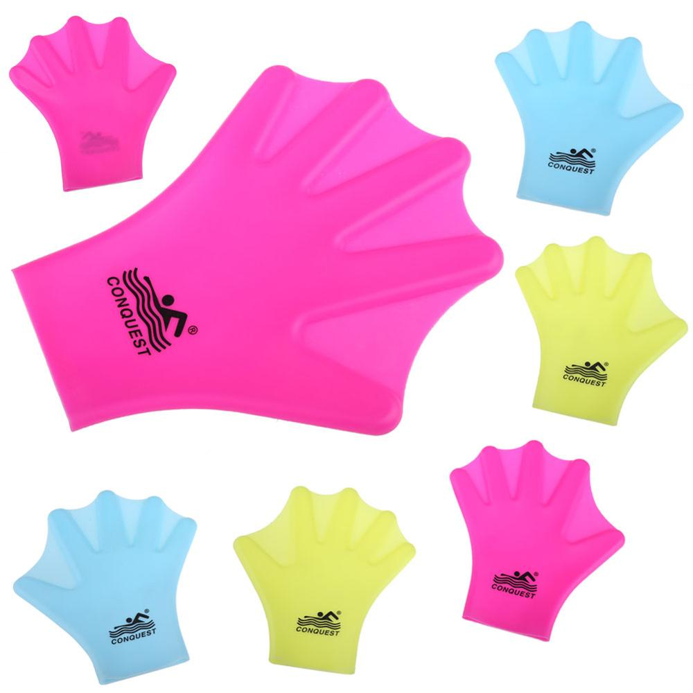 1 Pair Children Adult Silicone Hand Paddle Flippers Swimming Webbed Gloves Dive Five Fingers Free To Move