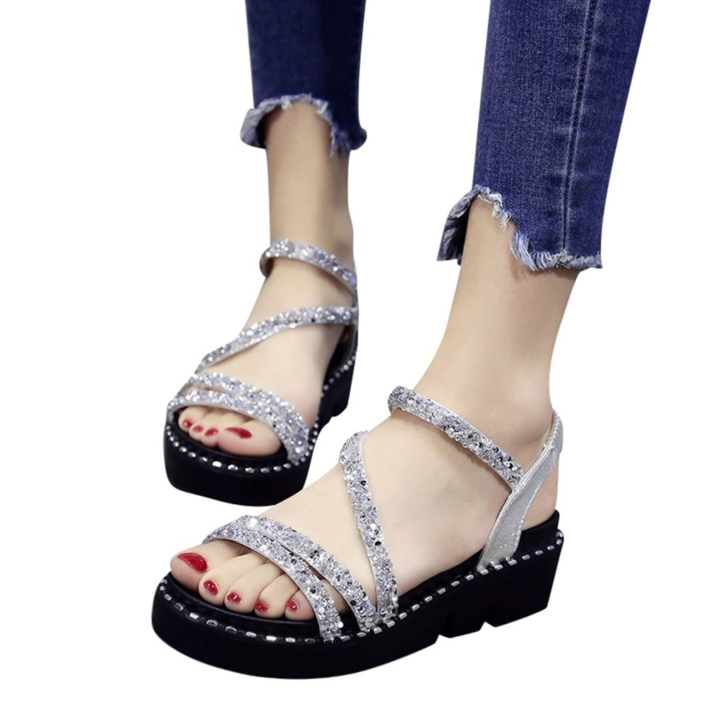 Summer Shoes Women Sandals Wedges Crystal Fahion Peep-Toe Ladies Bling Casual